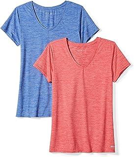 Amazon Essentials Femme T-Shirt De Sport Manches Courtes, Lot de 2