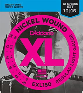 D'Addario XL Nickel Wound Electric Guitar Strings, Regular Light, 12-String Gauge – Round Wound with Nickel-Plated Steel for Long Lasting Distinctive Bright Tone and Excellent Intonation – 10-46, 1 Set