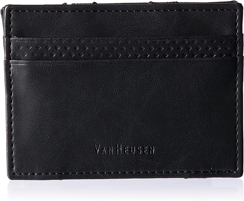 Van Heusen Men's Self Folding Card Wallet, Black