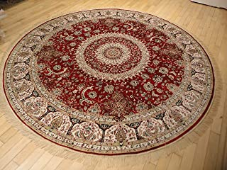 Stunning Silk Persian Area Rugs Traditional Design Red Tabriz 8x8 Round Shape Area Rugs Red Circle Rug Large Round Rugs Reds (8ft Round Shape)