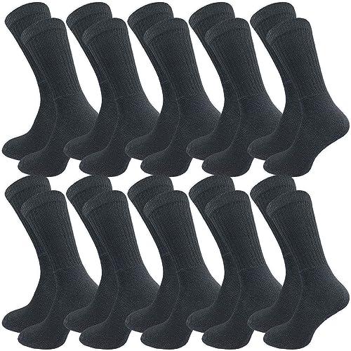 GAWILO Lot de 10 paires de chaussettes de travail - Chaussettes de sport - Chaussettes de tennis - Chaussettes de loi...