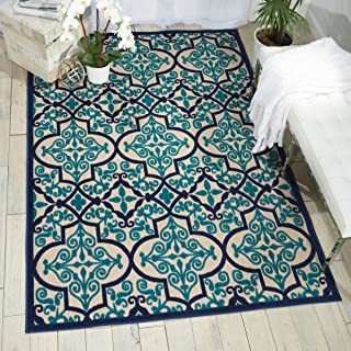 Nourison Aloha Indoor/Outdoor Navy Aqua Moroccan Area Rug, 5'3 x 7'5