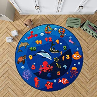 Kids Round Carpet Playmat Rug, Fun Area Rug,Blue Ocean Theme Rug for Bedroom,Classroom and Kidroom, Safety and Play Rug Carpet for Boys and Girls