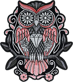 Sugar Owl Roses 5 inch Round Iron On Patch HTL10064