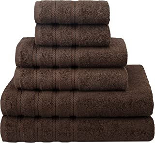 American Soft Linen Premium, Luxury Hotel & Spa Quality, 6 Piece Kitchen and Bathroom Turkish Towel Set, Cotton for Maximum Softness and Absorbency, [Worth $72.95] Chocolate Brown