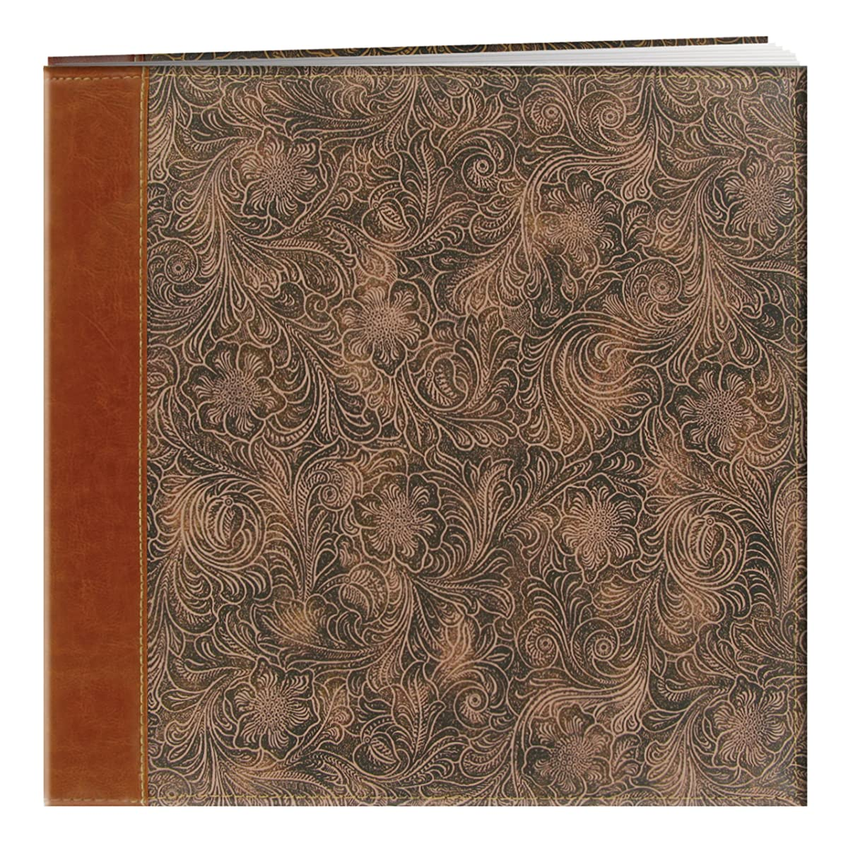 Pioneer 12 Inch by 12 Inch Postbound Embossed Sewn Leatherette Cover Memory Book, Tan