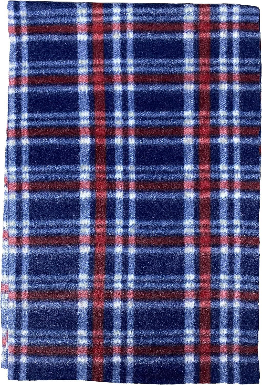 Yacht & Smith Warm Fleece Knit Winter Neck Scarfs and Bulk, Unisex Black, Plaid Stripe Design