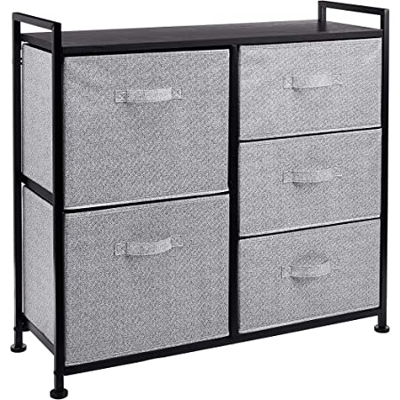 Amazon Basics Commode pour armoire - 5 tiroirs en tissu - noir