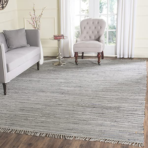 Safavieh Rag Rug Collection RAR121A Hand Woven Grey Cotton Area Rug 9 X 12