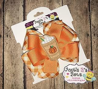 Pumpkin Spice Latte Pinwheel Hair Bow 4