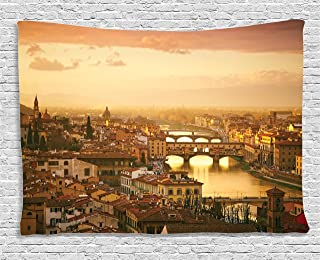 Ambesonne Wanderlust Decor Collection, Bridge Ponte Vecchio Italy Bird Eye Sunset View Castle Houses Historic Cityscape , Bedroom Living Room Dorm Wall Hanging Tapestry, 60W X 40L Inch