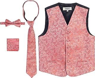 233f3a856506 Gioberti Boy's 4 Piece Formal Paisley Tuxedo Vest, Bowtie, Tie, Pocket  Square Set