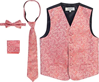 Gioberti Boy's 4 Piece Formal Paisley Tuxedo Vest, Bowtie, Tie, Pocket Square Set