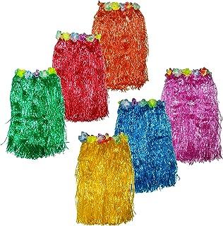 Hula Rock 6er Set - 60cm Lang Bastrock - Hawaii Rock - Deko Röcke für Kinder in 6 Bunten Farben - zum Party Outfit, Tropical & Karneval - Hawaii Kostüm Verkleidung Verstellbarer Bund für Damen