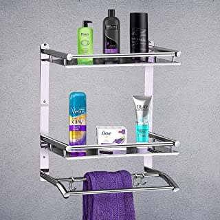 SPRINQUE Stainless Steel Double Layer Bathroom Shelf with Towel Rod & Holder | Multipurpose Wall Mount Bath Shelf Organize...