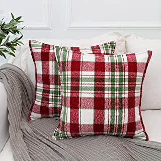 Muse Dream Christmas Holiday Pillow Covers 18x18 Decorative Green and White Plaid Throw Square Pillow Cases Set of 2,Soft ...