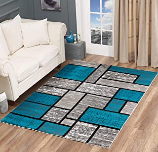 Golden Rugs Area Rug Abstract Modern Boxes Grey Black Turquoise Carpet Bedroom Living Room Contemporary Dining Accent Sevilla Collection 6614 (8x10, Turquoise)
