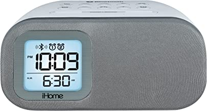 iHome iBT210WS Bluetooth Dual Alarm FM Clock Radio with Speakerphone and USB Charging - White