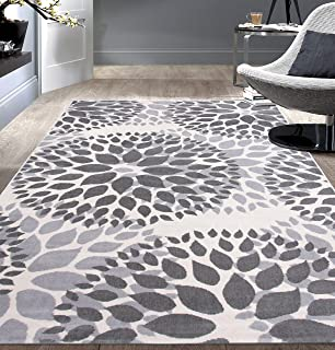 Modern Floral Circles Design Area Rugs 5' X 7' Gray