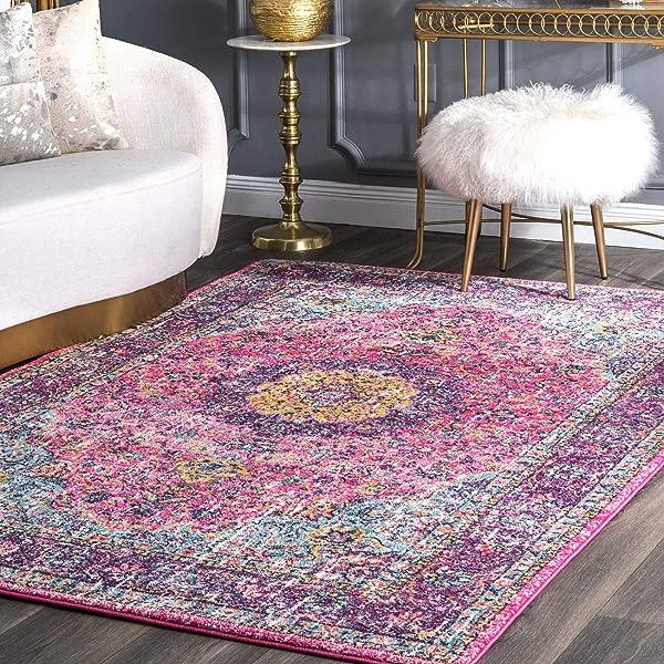 纽罗波斯维罗纳仿旧区域地毯 5X7 5 粉红色