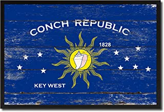 Conch Republic Key West City Florida State Shabby Chic Flag Canvas Print Home Decor Wall Art Collectible Decoration Artwork Gifts, Black Frame, 7