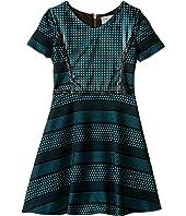 Us Angels - Short Sleeve Bonded Scuba Dress w/ Pleather Inset & Flare Skirt (Big Kids)