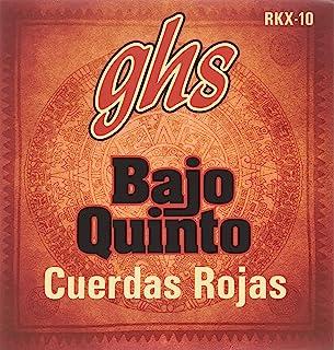 GHS Strings GHS RED COATED STAINLESS STEEL BAJO QUINTO Strings-Loop End-Cuerdas Rojas (RKX-10)