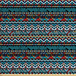 Lunarable Tribal Fabric by The Yard, Colorful Geometric Mexican Pixel Art Pattern Indigenous Native Style, Decorative Fabric for Upholstery and Home Accents, 1 Yard, Red Blue