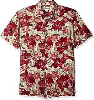 Men's Short Sleeve Tropical Paradise Print Rayon Shirt