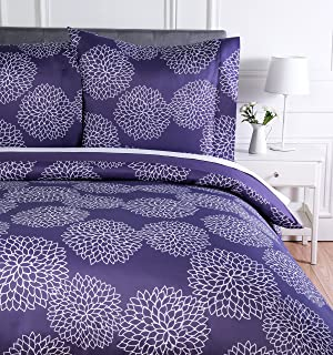 Amazon Basics Parure de lit avec housse de couette en microfibre, 140 x 200 cm, Violet (Purple Floral)