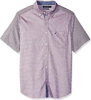 Nautica Men's Short Sleeve Stretch Oxford Stripe Button Down Shirt
