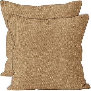 Encasa Homes Chenille poszewki na poduszki zestaw 2 szt. - piasek - 40 x 40 cm teksturowany jednolity kolor, miękka i gład...