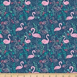Dear Stella Designs Dear Stella Jersey Knit Let's Flamingle Regatta Fabric by The Yard,