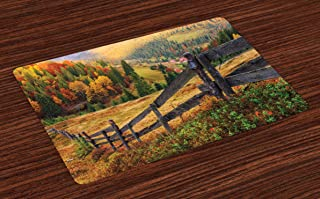 Lunarable Landscape Place Mats Set of 4, Colorful Autumn Scene with Old Wood Fence on Meadow Countryside Fall Image, Washable Fabric Placemats for Dining Room Kitchen Table Decor, Green Yellow