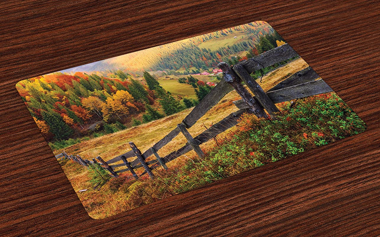 Lunarable Landscape Place Mats Set Of 4 Colorful Autumn Scene With Old Wood Fence On Meadow Countryside Fall Image Washable Fabric Placemats For Dining Room Kitchen Table Decor Green Yellow