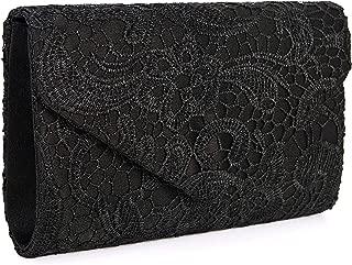 Women's Elegant Floral Lace Evening Clutch Envelope Prom Handbag Wedding Purse