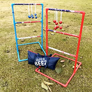 JaperBees Patriotic Series Ladder Ball Toss for Outdoor Lawn Game with Heavy Duty Pipes and 6 Real Golf Ball Bolas, Fasion Carrying Bag