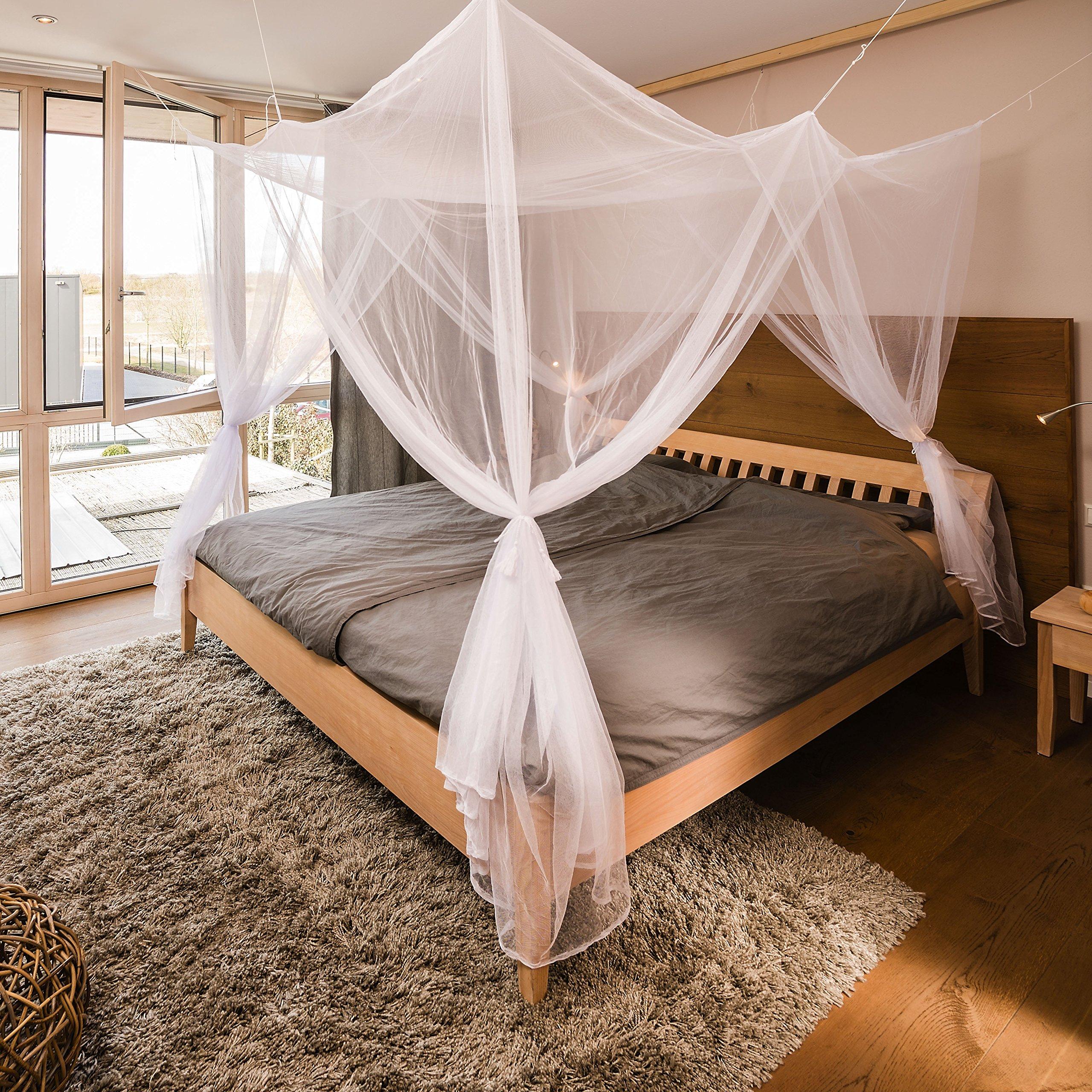 FREILUFTRAUM Moskitonetz für Doppelbetten mit Vier Öffnungen I
