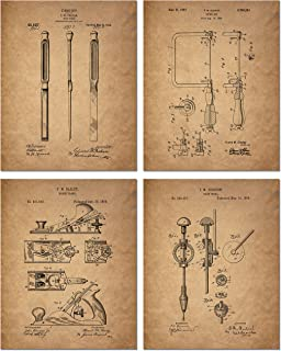 Woodworking Patent Prints - Set of 4 (8 inches x 10 inches) Photos - Wood Carving Vintage Decor