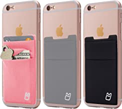 (Three) Stretchy Cell Phone Stick on Wallet Card Holder Phone Pocket for iPhone, Android and All Smartphones. (Pink&Grey&Black)