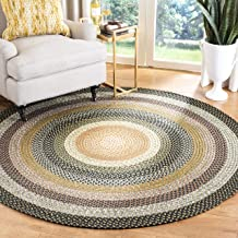 Safavieh Braided Collection BRD308A Hand Woven Blue and Multi Round Area Rug (4' Diameter)