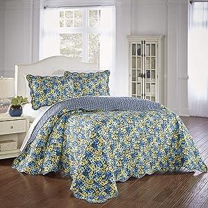 Waverly Shi Modern Farmhouse Floral 3-Piece Reversible Bed Spread Set, Queen, Multicolor
