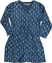 Ayurvastram KRITI Hand Block Printed Cotton V Neck Tunic, Kurti, Top, Blouse