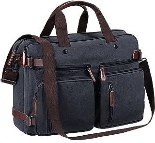 50b714a0eb Tecool Ordinateur Portable Sac à Dos Convertible Toile Messenger Sac à  bandoulière Multifonctionnel Briefcase Sac à