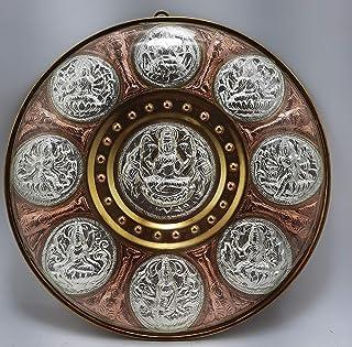 "JLine Arts Gajalakshmi Astalakshmi 8 Forms 10"" Thanjavur Art Plate Metal Art with Wall Hanging and Unbreakable Fibre Glass..."