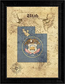SpotColorArt Utah State Vintage Map Flag Canvas Print, Wood Grain Black Picture Frame Gifts Home Decor Wall Art, 21