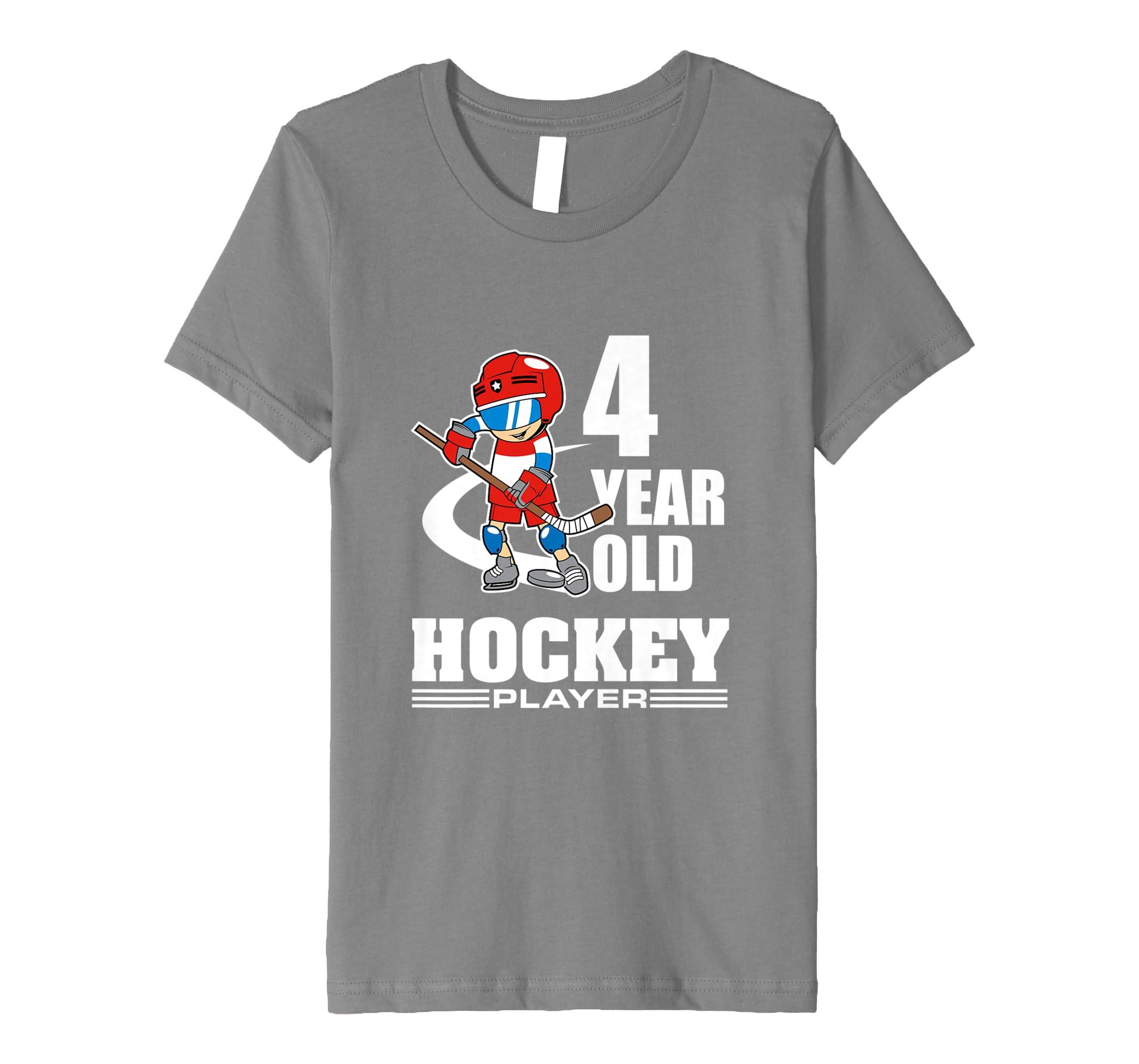 f7a195b6a23d0 Amazon.com: Kids Hockey T-Shirt - 4 Year Old Hockey Player Birthday ...