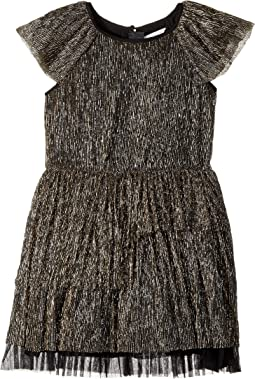 Little Marc Jacobs - Pleaded Lurex Details Short Sleeve Dress (Little Kids/Big Kids)