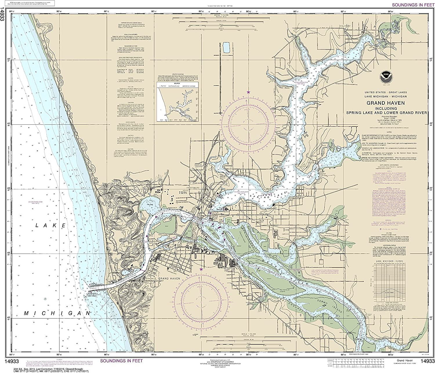 NOAA Chart 14933 Grand Haven, Including Spring Lake and Lower Grand River  28.33  X 32.79  Laminated Map