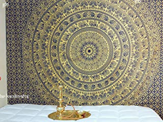 Popular Handicrafts Popular Original Gold Elephant Tapestry Kp823 Indian Mandala Wall Art Hippie Wall Hanging Bohemian Bedspread with Metallic Shine King Size Tapestries Exclusively